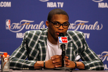 By far the tamest thing that Westbrook has worn in a while.