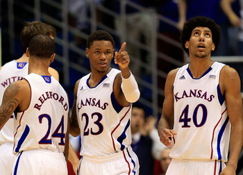 Kansas players: Travis Releford, Jeff Withey, Ben McLemore (23) and Kevin Young (40).