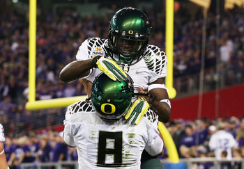 De'Anthony Thomas celebrates after scoring on a screen pass in the Fiesta Bowl