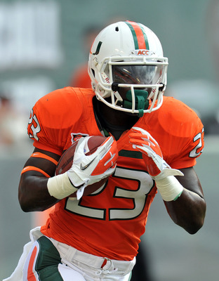 Sept. 24, 2010; Miami, FL, USA; Miami Hurricanes running back Eduardo Clements (23) during warm ups before a game against the Kansas State Wildcats at Sun Life Stadium. Kansas won 28-24. Mandatory Credit: Steve Mitchell-USA TODAY Sports