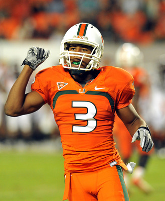 Nov 1, 2012; Miami, FL, USA; Miami Hurricanes defensive back Tracy Howard (3) during a game against Virginia Tech Hokies at Sun Life Stadium. Mandatory Credit: Steve Mitchell-USA TODAY Sports
