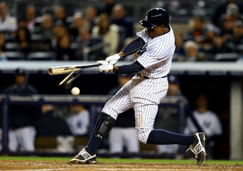 The Yankees' Curtis Granderson breaks his bat in Game 5 of the American League Division Series against Baltimore, Oct. 12.