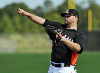 Ricky Nolasco tosses the baseball in his new role as ace of the Marlins pitching staff.