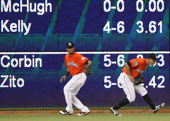 Gorkys Hernandez, left, and Justin Ruggiano, are shown playing in the Marlins outfield last season. Hernandez or Ruggiano will have to emerge as the Marlins starting center fielder in 2013.