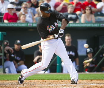 Alfredo Silverio takes a swing during a recent Marlins spring training game.