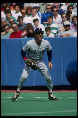 Even though the ball is actually already in the outfield, Bill Buckner is ready for it.