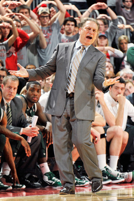 It's difficult to tell if Tom Izzo is pleased or angry, but let's say he's angry in this photo.