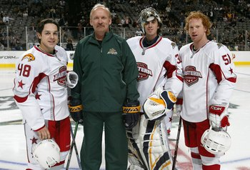 Ruff with Daniel Briere, Ryan Miller and Brian Campbell at the 2007 NHL All-Star Game.