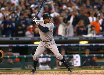 Alex Rodriguez awaits the pitch during Game 4 of the 2012 ALCS against the Detroit Tigers