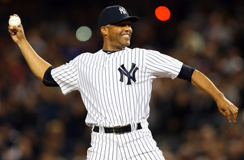 Mariano Rivera throws out the first pitch during Game 3 of the 2012 ALDS against the Baltimore Orioles