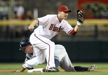Brett Gardner successfully steals second base during a June 22, 2010 game against the Arizona Diamondbacks