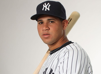 Gary Sanchez poses for New York Yankees Photo Day last Spring