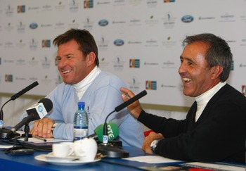 Seve Ballesteros shared a laugh with Nick Faldo.