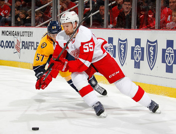 Niklas Kronwall (55) has stepped up for Detroit.