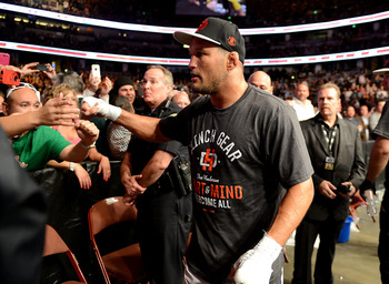 Feb 23, 2013; Anaheim, CA, USA; Dan Henderson enters the ring to fight Lyoto Machida (not pictured) in the UFC welterweight bout at the Honda Center. Mandatory Credit: Jayne Kamin-Oncea-USA TODAY Sports