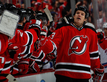 David Clarkson celebrating a goal against the Rangers on February 5th