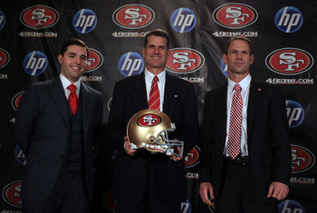 The 49ers brain trust, Jed York, Jim Harbaugh and Trent Baalke.