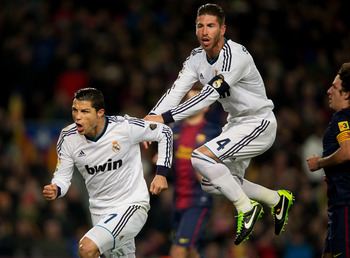 Cristiano Ronaldo celebrates with captain Sergio Ramos