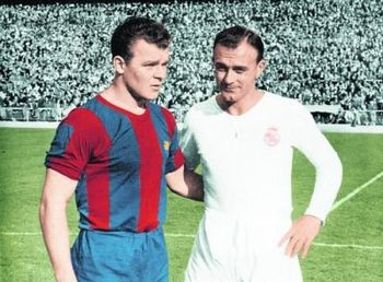 Laszlo Kubala and Alfredo Di Stefano, two legends of the game.