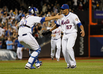 Santana (right) threw the first no-hitter in Mets history, but struggled immensely following that outing.