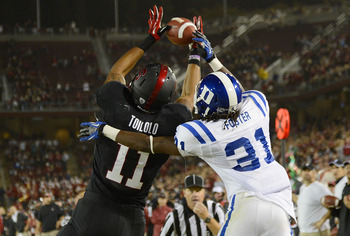 Stanford's Levine Toilolo leaps for a catch in a game against Duke, Sept. 8.
