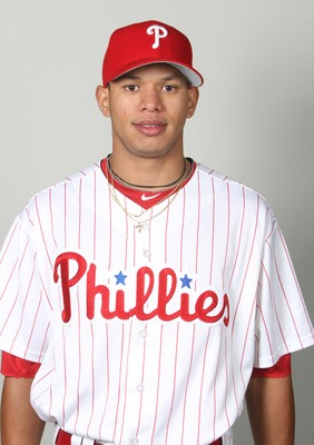February 18, 2013; Clearwater, FL, USA; Philadelphia Phillies second baseman Cesar Hernandez (74) poses for a picture during photo day at Bright House Networks Field. Mandatory Credit: Kim Klement-USA TODAY Sports