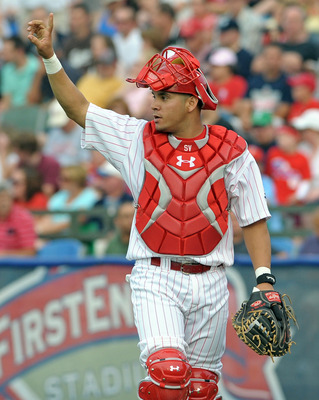 July 11, 2012; Reading, PA USA; Reading Phillies catcher Sebastian Valle (12) during the AA Eastern League All-Star game at FirstEnergy Stadium. The Eastern Division defeated the Western Division, 5-4. Mandatory Credit: Eric Hartline-USA TODAY Sports