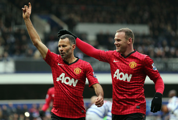 Ryan Giggs celebrates his winning goal against QPR last weekend