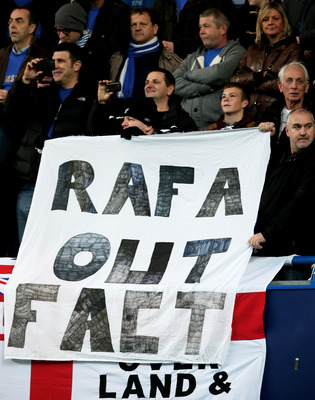 LONDON, ENGLAND - NOVEMBER 25:  Fans protest over the signing of new manager Rafawel Benitez during the Barclays Premier League match between Chelsea and Manchester City at Stamford Bridge on November 25, 2012 in London, England.  (Photo by Julian Finney/