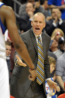 PHILADELPHIA, PA - MARCH 16:  Head coach Doug Collins of the Philadelphia 76ers yells during the game against the Miami Heat at the Wells Fargo Center on March 16, 2012 in Philadelphia, Pennsylvania. The Heat won 84-78. NOTE TO USER: User expressly acknow