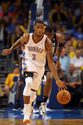 Oct 16, 2012; Oklahoma City, OK, USA; Oklahoma City Thunder forward Perry Jones (3) handles the ball against the Charlotte Bobcats during the second half at Chesapeake Energy Arena.  Mandatory Credit: Mark D. Smith-USA TODAY Sports