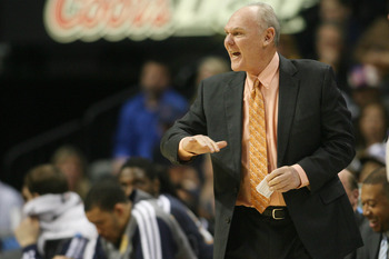 January 20, 2013; Denver, CO, USA; Denver Nuggets head coach George Karl reacts from the sidelines during the first half against the Oklahoma City Thunder at the Pepsi Center.  The Nuggets won 121-118 in overtime.  Mandatory Credit: Chris Humphreys-USA TO
