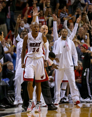 MIAMI, FL - NOVEMBER 29:  Ray Allen #34 of the Miami Heat reacts to a late game three pointer during a game against the San Antonio Spurs at American Airlines Arena on November 29, 2012 in Miami, Florida.  (Photo by Mike Ehrmann/Getty Images)