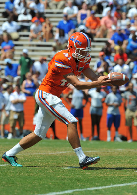 Christy kicks during Florida's 2011 spring game.
