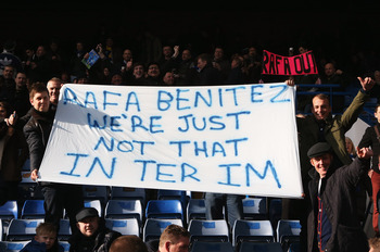 This banner was one of the more creative of those on display at Stamford Bridge.
