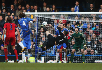 Ben Foster challenges for the ball in the Chelsea penalty area at the death. His best performance came in the opposite penalty box though.