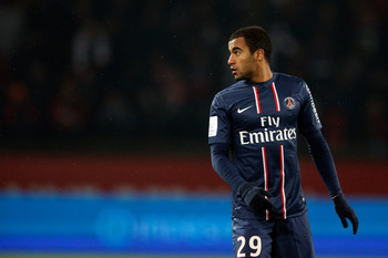 PARIS, FRANCE - FEBRUARY 24:  Lucas Moura of PSG looks on during the Ligue 1 match between Paris Saint-Germain FC and Olympique de Marseille at Parc des Princes on February 24, 2013 in Paris, France.  (Photo by Dean Mouhtaropoulos/Getty Images)