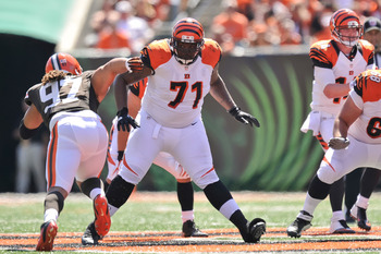 CINCINNATI, OH - SEPTEMBER 16:  Andre Smith #71 of the Cincinnati Bengals blocks against the Cleveland Browns at Paul Brown Stadium on September 16, 2012 in Cincinnati, Ohio.  (Photo by Jamie Sabau/Getty Images)