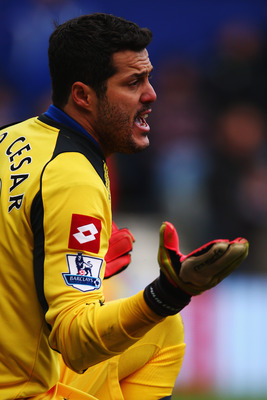 QPR goalkeeper Julio Cesar was forced out of the game at Southampton with a back injury.