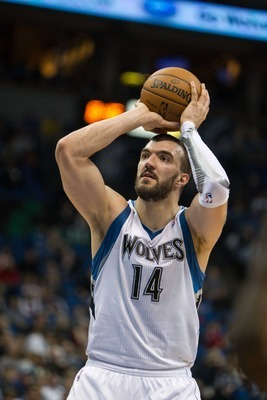 Feb 6, 2013; Minneapolis, MN, USA; Minnesota Timberwolves center Nikola Pekovic (14) against the San Antonio Spurs at the Target Center. The Spurs defeated the Timberwolves 104-94. Mandatory Credit: Brace Hemmelgarn-USA TODAY Sports