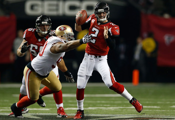 Isaac Sopoaga chases down Matt Ryan in the NFC title game.