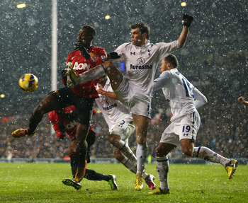 Bale in action against Manchester United.