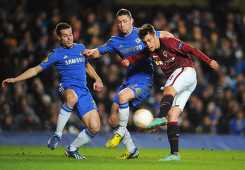 Cahill, pictured in the thick of the action against Sparta Prague.
