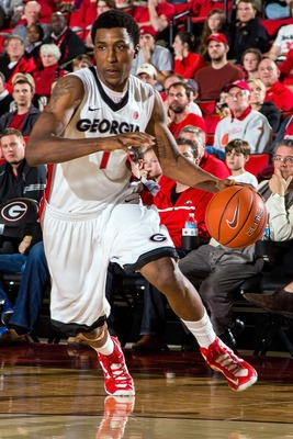 Mar 2, 2013; Atlanta, GA, USA; Georgia Bulldogs guard Kentavious Caldwell-Pope (1) drives the ball toward the basket in the second half against the Tennessee Volunteers at Stegeman Coliseum. Georgia won 78-68. Mandatory Credit: Daniel Shirey-USA TODAY Spo