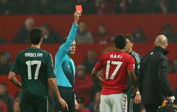 Cuneyt Cakir red cards Nani.