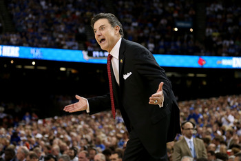 NEW ORLEANS, LA - MARCH 31:  Head coach Rick Pitino of the Louisville Cardinals reacts in the first half while taking on the Kentucky Wildcats during the National Semifinal game of the 2012 NCAA Division I Men's Basketball Championship at the Mercedes-Ben