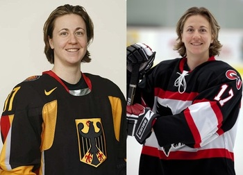 Seiler with Team Germany (left) and with the Carleton Ravens (right)
