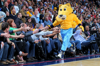 DENVER, CO - MARCH 01:  Rocky, the mascot of the Denver Nuggets, excites the fans as they face the Oklahoma City Thunder at the Pepsi Center on March 1, 2013 in Denver, Colorado. The Nuggets defeated the Thunder 105-103. NOTE TO USER: User expressly ackno