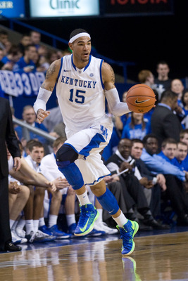 Feb 27, 2013; Lexington, KY, USA; Kentucky Wildcats forward Willie Cauley-Stein (15) dribbles the ball against the Mississippi State Bulldogs in the first half at Rupp Arena. Kentucky defeated Mississippi State 85-55. Mandatory Credit: Mark Zerof-USA TODA