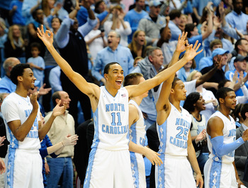 CHAPEL HILL, NC - FEBRUARY 23:  Brice Johnson #11 and the North Carolina Tar Heels bench react during a win over the North Carolina State Wolfpack at the Dean Smith Center on February 23, 2013 in Chapel Hill, North Carolina. North Carolina won 76-65.  (Ph